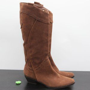 Reba Mae Cowgirl Brown Suede Leather Studded Boot